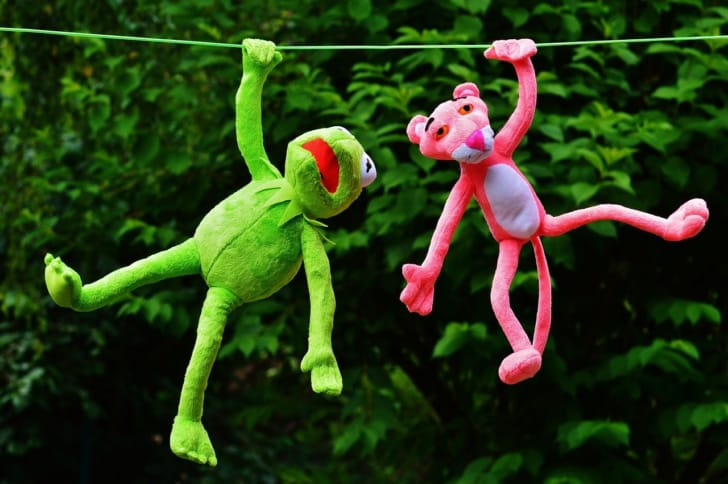 カーミットとピンクパンサーが遊んでいる写真
