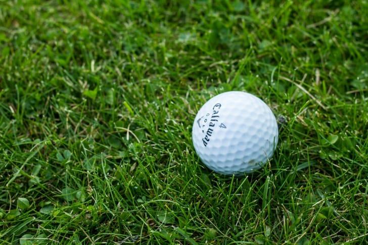 芝生の上にゴルフボールがおいてある写真
