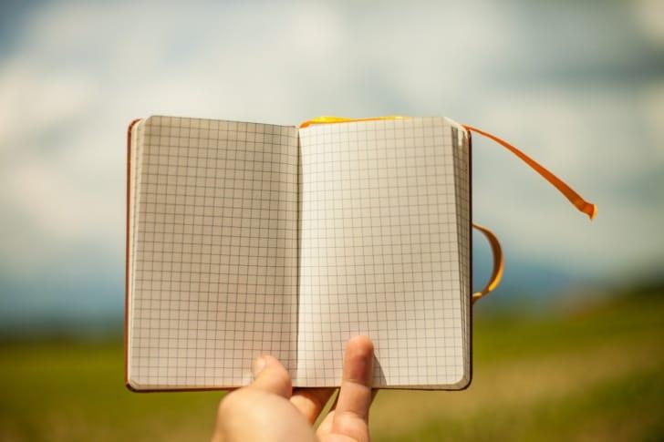 方眼紙のノートの写真
