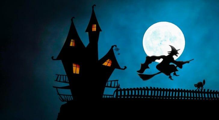 魔女が月夜を飛ぶハロウィンの写真