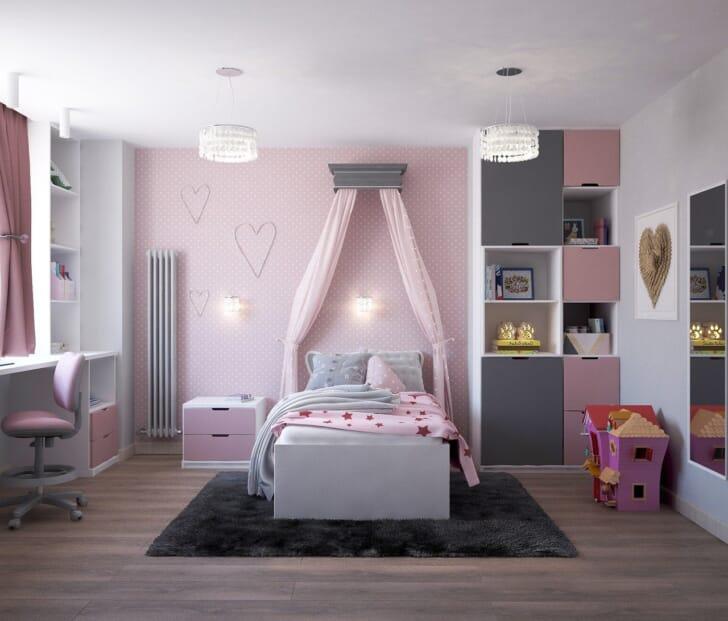 小学生くらいの女の子に好まれそうなかわいい部屋の写真