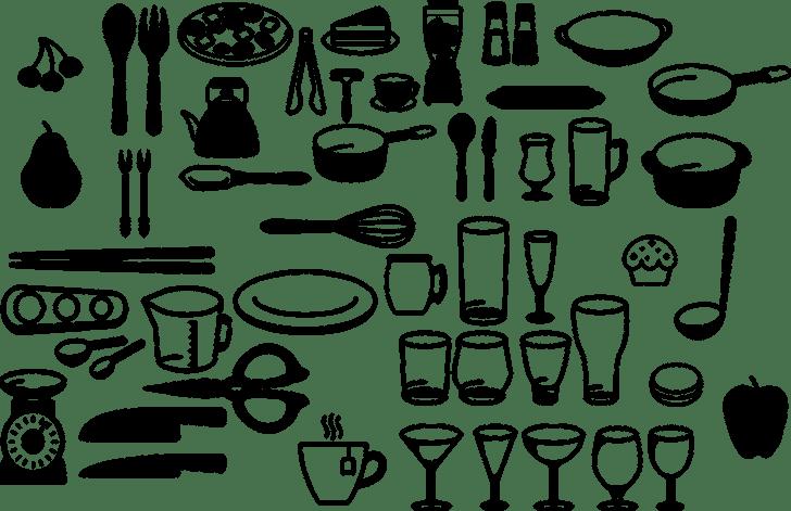 さまざまなキッチンカトラリーが描かれた画像