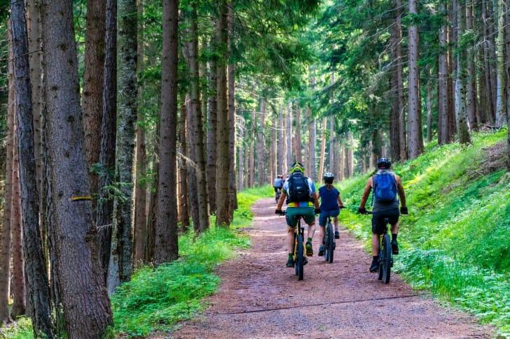 マウンテンバイクで山を登る人たちの写真