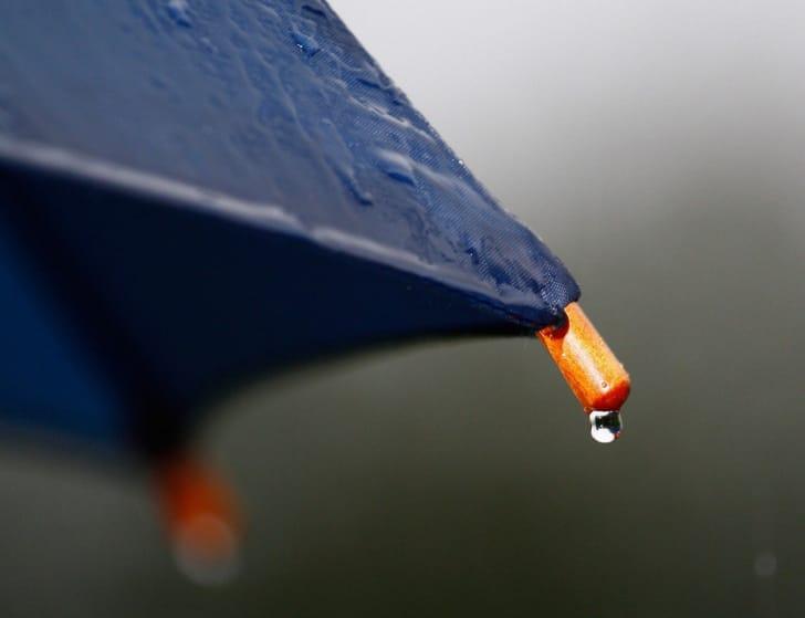 紺色の傘の先から雫が垂れている写真