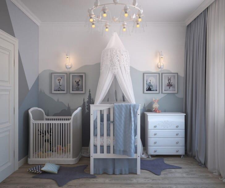 おしゃれなベビータンスが置いてある子供部屋の写真