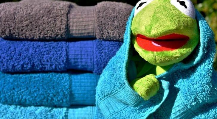 カエルのぬいぐるみがタオルを巻いている画像
